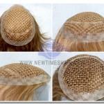 """HS16: Toupet mit Kappe aus Polyester Netz mit 1"""" breitem Rand aus Haut"""
